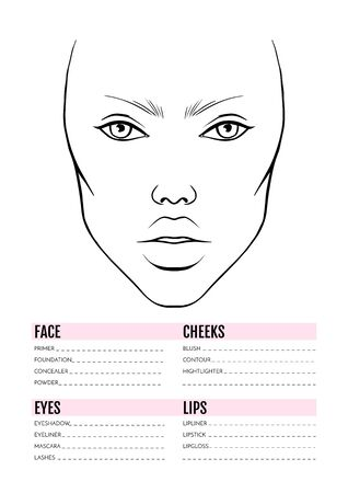 Face chart Blank. Makeup Artist Vector template.