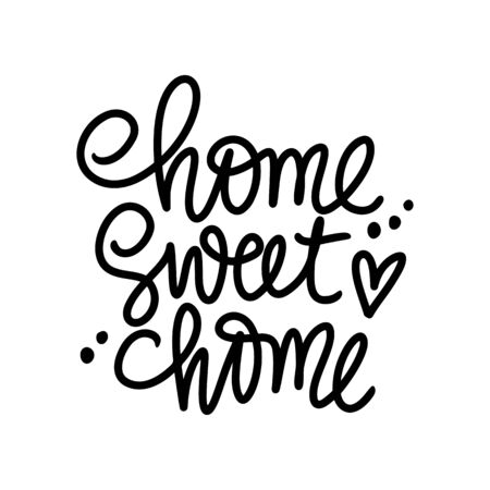 Home sweet home Vector Calligraphic quote. Handwritten lettering phrase isolated on white background.