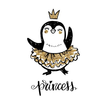 Cute penguin girl dancing in ballerina tutu dress. Baby animals character in doodle, sketch style.