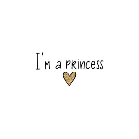 Princess lettering, Golden glitter crown. Typographic print for kids or babies. Sparkle Hand writing Calligraphy phrase