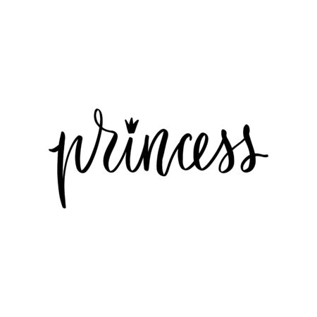 Princess Calligraphy lettering isolated on white. Queen Typographic print Illustration