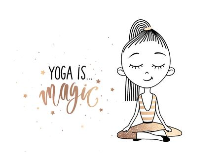 Yoga is magic - golden lettering inscription and cute Girl Practicing Yoga in the lotus position