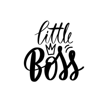 Little Boss vector golden Hand lettering quote with queen crown. Sparkle design Illustration