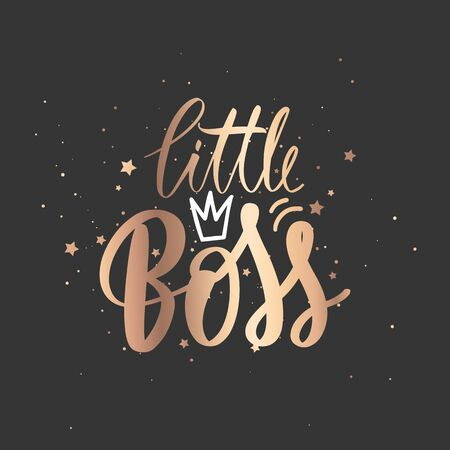 Little Boss vector golden Hand lettering quote with queen crown. Sparkle design Ilustração