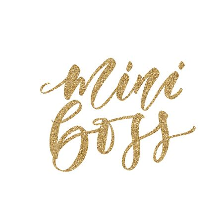 Mini Boss vector golden glitter Hand lettering quote with queen crown. Sparkle, glow design