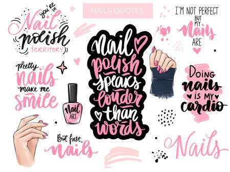 Nails and manicure set with woman hands, handwritten lettering, phrases, Inspiration quote for nail bar, beauty salon Banco de Imagens - 150982177