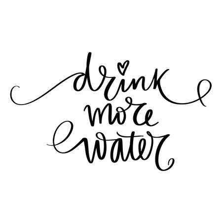 Drink water vector handwritten lettering quote. Typography slogan. Hand sketched phrase. Healthy lifestyle, blue poster, hydrate motivation.