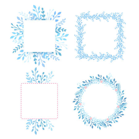 Frames, borders set with leaves and blue branches. Circle and square herbs composition, forest plants.