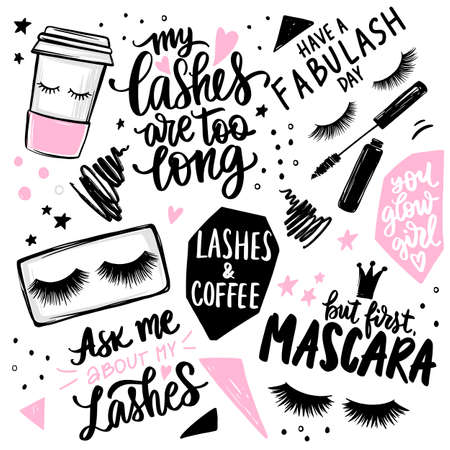 Lashes, mascara, makeup, cosmetic, coffee - set with closed eyes, lettering calligraphy quotes or phrases. Ilustração