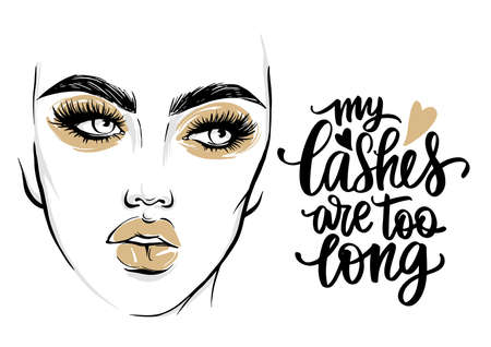 Vector fashion poster with lashes quote and woman portrait with golden makeup.