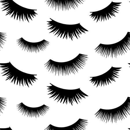 Vector seamless pattern with lashes. Closed eyes background. Repeat design for girls, woman, social media Ilustração