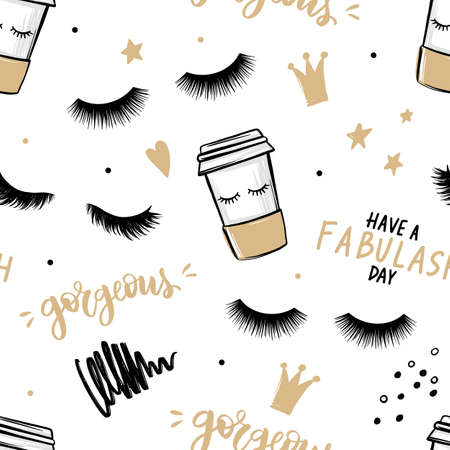 Vector seamless pattern with lashes and mascara, brush stroke, coffee cup. Closed eyes background.