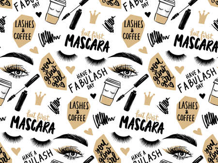 Makeup artist background. Seamless pattern with mascara, eyeshadow, eyes, brows and long black lashes, Paper coffee cup and brush stroke Ilustração
