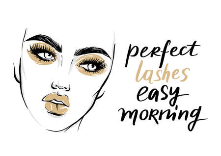Vector fashion poster with lashes quote and woman portrait with golden makeup