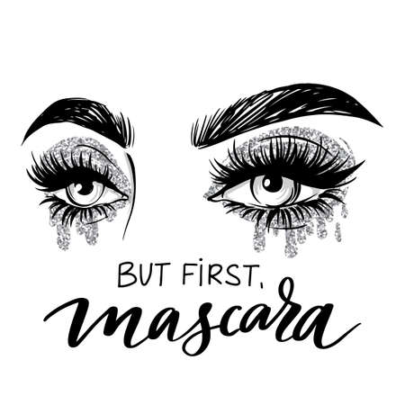 Beautiful eyes with long black lashes and silver Glitter eyeshadow. Vector Handwritten quote - But first, mascara.
