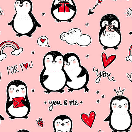 Penguin vector seamless pattern. Funny animals background. Cartoon hand drawn texture with cute characters. Doodle style.