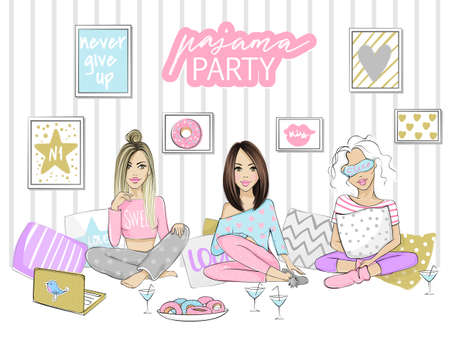 Pajama party vector illustration with beautiful young women, girls, teenagers. Poster, cover or banner for a fun event.