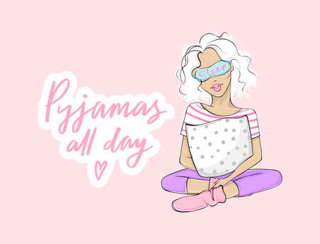 Pyjamas all day. Pajama party vector illustration with beautiful young woman, girl sitting with a pillow in sleeping mask. Pink background. 向量圖像