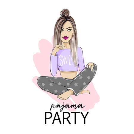 Pajama party vector illustration with beautiful young blonde woman. 向量圖像