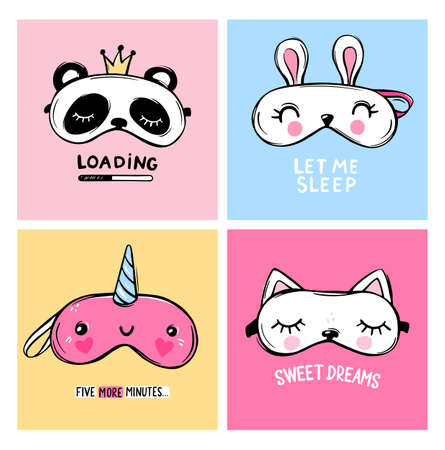 Vector cards collection with Sleep masks and quotes. Blindfold animal shaped - unicorn, cat, rabbit, panda.