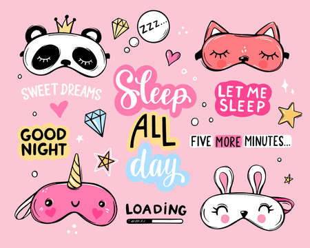 Sleep masks and quotes vector set. Lettering phrases good night, sweet dreams, sleep all day. Blindfold classic and animal shaped - unicorn, cat, rabbit, panda.