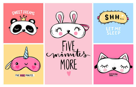 Vector cards collection with Sleep masks and quotes. Blindfold classic and animal shaped - unicorn, cat, rabbit, panda.