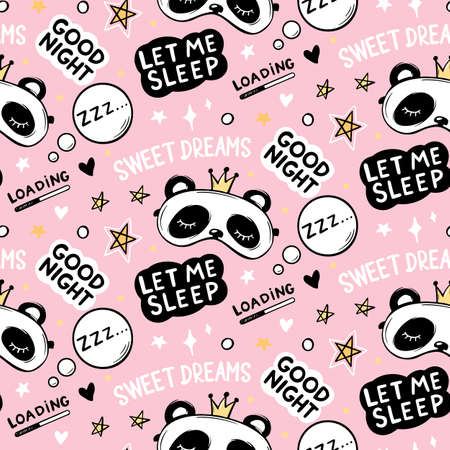 Vector seamless pattern with Cute Panda bear in crown sleep masks, good night lettering quote