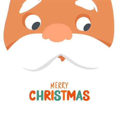 Merry Christmas vector card with funny Santa Claus face close-up. Happy New Year or Xmas illustration. Cute Father Frost cartoon character.