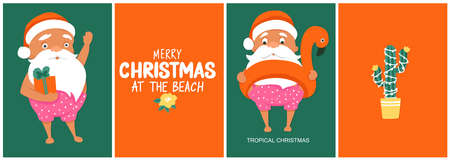 Summer Santas greeting cards. Vector illustration. Tropical Christmas and Happy New Year