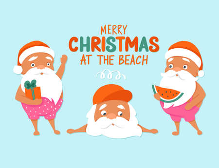 Merry Christmas at the beach. Summer Santa characters. Tropical Christmas and Happy New Year