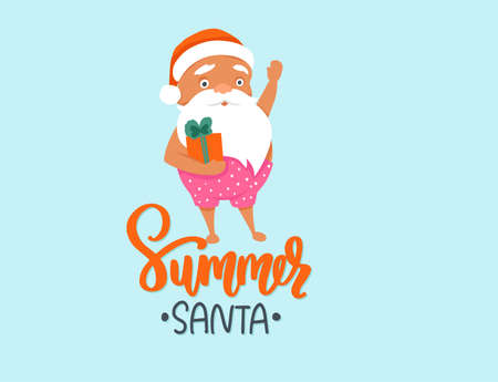Summer Santa Claus illustration with gift box. Merry Christmas at the beach. Tropical Christmas and happy New Year greeting card.