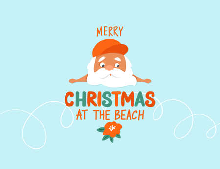 Merry Christmas at the beach. Summer Santa Claus illustration. Tropical Christmas and happy New Year greeting card.