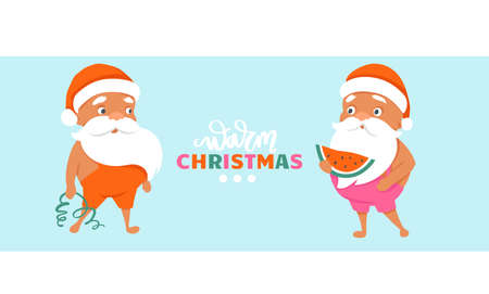 Merry Christmas at the beach. Summer Santa characters. Tropical Christmas and Happy New Year horizontal banner or poster.