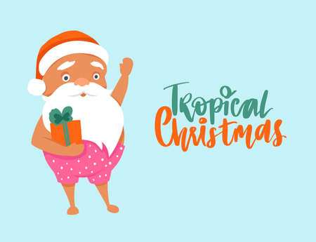 Summer Santa Claus illustration with gift box. Tropical Christmas and happy New Year greeting card.