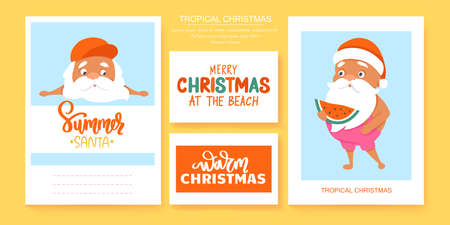 Summer Santa greeting cards. Vector illustration. Tropical Christmas and Happy New Year