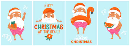 Summer Santa greeting cards collection. Vector illustration. Tropical Christmas and Happy New Year in a warm climate design. Cute vector Santa Claus posters