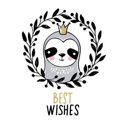 Cute princess Sloth, Merry Christmas greeting card. Vector funny illustration for winter holidays. Doodle animals character. Best wishes. Happy New Year and Xmas print