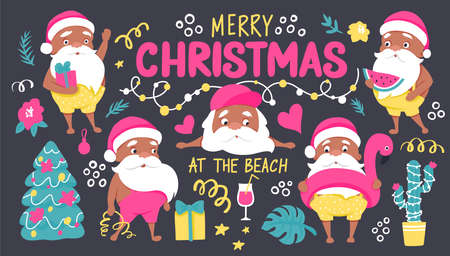 Summer Santa characters. Tropical Christmas and Happy New Year in a warm climate collection.