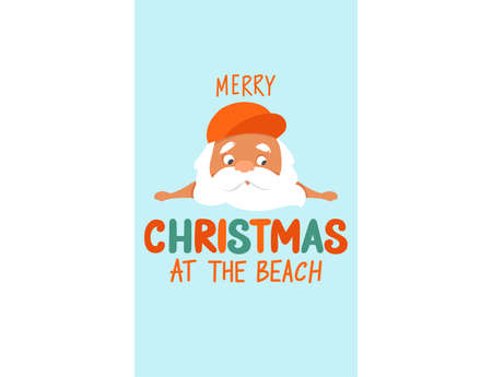 Merry Christmas at the beach. Summer Santa Claus illustration. Tropical Christmas and happy New Year greeting card. Cute vector holidays design