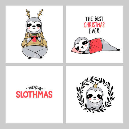 Cute Sloth, Merry Christmas cards collection. Vector funny illustrations for winter holidays. Doodle lazy sloths bears and lettering inscriptions. Happy New Year and Xmas animals set
