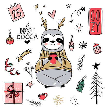 Cute Sloth, Merry Christmas collection. Vector funny illustrations for winter holidays. Doodle lazy sloths bears with scarf, gift box, hat. Happy New Year and Xmas animals set 向量圖像