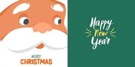 Merry Christmas vector cards with funny Santa Claus face close-up and Hand drawn lettering. Happy New Year or Xmas illustration. Holiday design template.