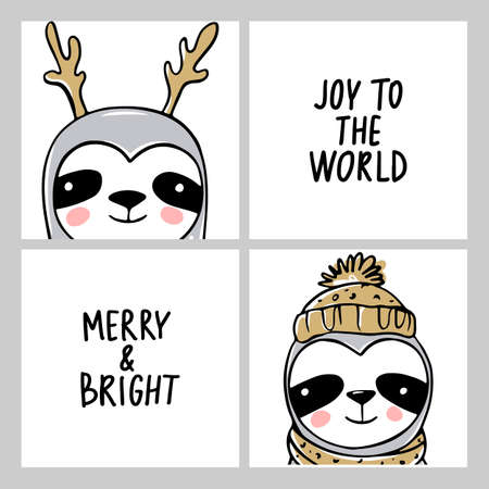Cute Sloth, Merry Christmas cards collection. Vector funny illustrations for winter holidays. Doodle lazy sloths bears 向量圖像