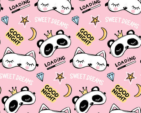 Vector seamless pattern with sleep masks. Panda bear with crown and cute white cat. Cartoon animals background