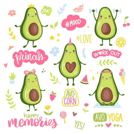 Cartoon avocado characters. Funny and happy fruits stickers collection