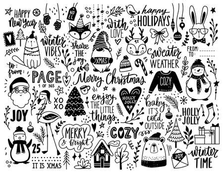 Christmas hand drawn doodle illustration. Xmas, Happy new Year set in sketch style. Santa Claus, animals, lettering, gnome, snowman.