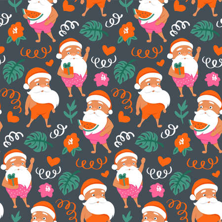 Summer Santa Claus seamless pattern. Merry Christmas at the beach background. Tropical Christmas and happy New Year texture. Illusztráció