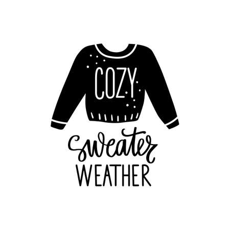 Sweater weather autumn or winter typography. Hand drawn lettering phrase isolated on white. Seasonal calligraphy
