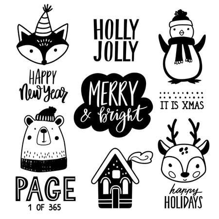 Christmas hand drawn doodle animals illustration. Xmas, Happy new Year set in sketch style. Penguin, cute bear, fox, fawn, lettering. Ilustración de vector