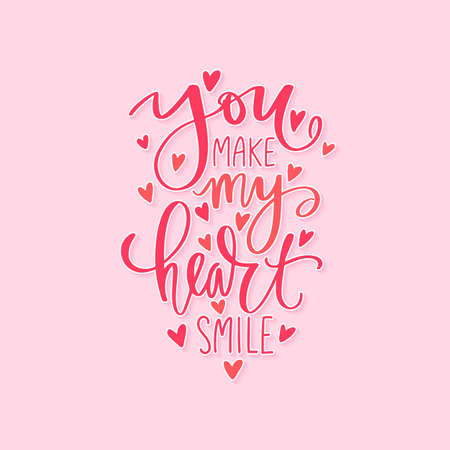 Love lettering vector quote. Romantic calligraphy phrase for Valentines day cards, family poster, wedding decoration.